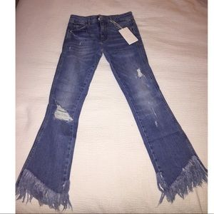 Crop ripped jeans